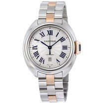 Cartier Cle de Cartier Silvered Flinque Sunray Effect Watch