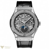 Hublot : Classic Fusion 42mm Moonphase Titanium Diamonds Watch