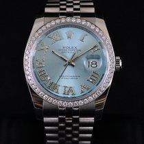 Rolex Datejust Steel Custom Ice Blue Roman Dia Dial 1.25CT Bezel