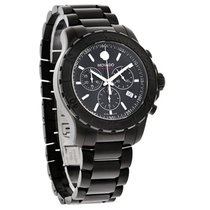 Movado Series 800 Mens Black Dial Swiss Chrono Quartz Watch...