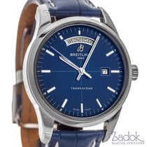 Breitling Transocean Day Date Blue Dial Automatic Watch 43mm...