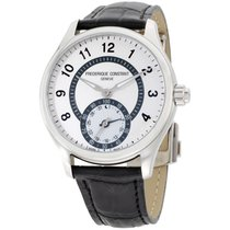 Frederique Constant Hsw Silver Dial Black Leather Strap...