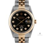 Rolex Datejust Steel and Gold Black Diamond Dial Fluted Bezel...