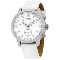 Tissot Prc 200 Chronograph White Dial Leather Steel Mens Watch...
