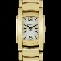 Bulgari 18k Yellow Gold White Dial Assioma Ladies B&P AA26G
