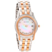 Gucci WHITE MOP DIAMOND DIAL Steel&Rose Gold YA055529...