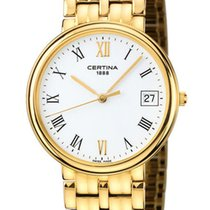 Certina Swiss Time Maker 18kt Gold Mens Watch White Dial Date...