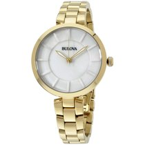 Bulova White Dial Gold Tone Ladies Watch 97l142