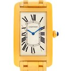 Cartier Tank Americaine Large Yellow Gold Mechanique Mens Watch