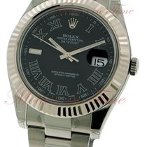 Rolex Datejust II, Black Roman Dial, White Gold Fluted Bezel -...