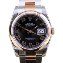 Rolex Datejust 36 116201-BLKRSO Black Roman Rose Gold Stainles...