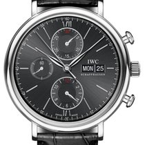 IWC Portofino Chronograph IW391008 Stainless Steel Black Dial...