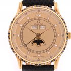 Omega Classic Vollkalender Mondphase Gelbgold Diamond Saphir...