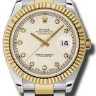 Rolex Datejust II 41mm Two Tone Fluted Bezel Diamond Dial