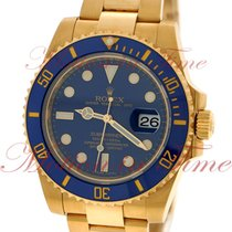 Rolex Submariner, Blue Dial, Blue Ceramic Bezel - Yellow Gold...