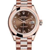 Rolex Datejust 28 279165 Chocolate Roman Domed Bezel Rose Gold...