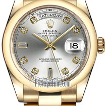 Rolex Day-Date 36mm Yellow Gold Domed Bezel 118208 Silver...