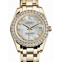 Rolex Pearlmaster 34 81298 White Mother of Pearl Roman Diamond...