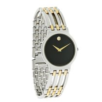 Movado Esperanza Mens Black Dial Two Tone Bracelet Swiss...