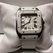 Cartier Santos 100 white rubber strap white dial