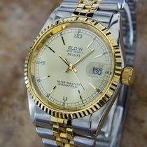 Elgin Datequartz Deluxe Swiss Made Mens Gold Plated Stainless...