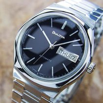 Bulova Automatic Swiss Made 1970s Mens Dress Black Dial Watch ...