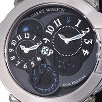 Harry Winston Ocean Dual Time Crocodile Leather White Gold...