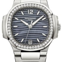 Patek Philippe Nautilus Ladies Stainless Steel 33.6mm Diamond...