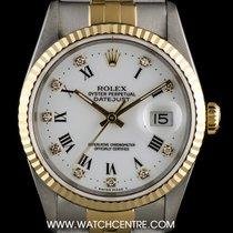 Rolex S/G O/P White Roman & Diamond Set Dial Datejust...