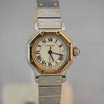 Cartier Santos Octagon Damenuhr Stahl & 750/- Gelbgold Quarz