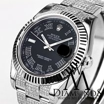 Rolex 41 Mm Black Face Rolex Datejust 2 Ii With Custom Diamond...