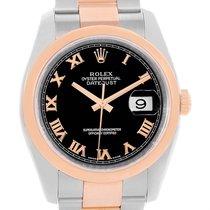 Rolex Datejust Steel 18k Rose Gold Black Roman Dial Watch 116201