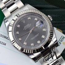 Rolex Mens Datejust Ii Rhodium Diamond Dial 41mm  S/steel ...