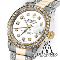 Rolex Ladies 26mm Rolex Oyster Perpetual Datejust Custom White...