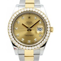 Rolex Datejust II 116333 Champagne Diamond Custom Diamond...