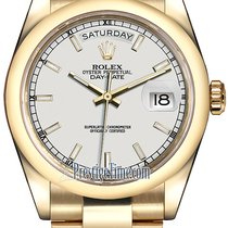 Rolex Day-Date 36mm Yellow Gold Domed Bezel 118208 White Index...