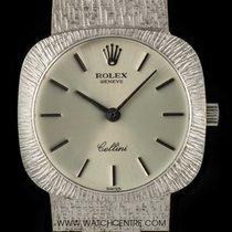 Rolex 18k White Gold Silver Baton Dial Cellini Ladies Wristwatch