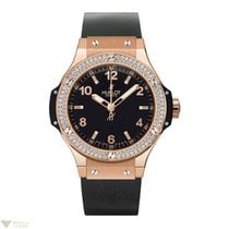 Hublot Big Bang 18K Rose Gold Black Rubber Ladies Watch