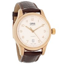 Oris Classic Mens Silver Dial Brown Leather Swiss Automatic...