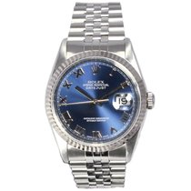Rolex Oyster Perpetual Datejust Blue Dial White Gold Stainless...