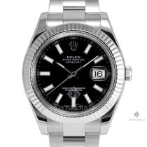Rolex Datejust II Stainless Steel Black Stick Dial Fluted...