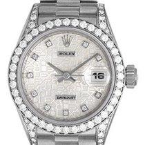 Rolex Ladies Rolex President 18k White Gold Diamond Watch 69159