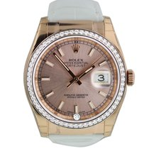 Rolex 116185 Datejust 36 Everose Diam Bezel Pink Dial Wht leather