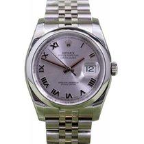 Rolex Datejust 36 116200-RHDRDJ Silver Roman Stainless Steel...