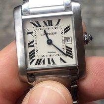 Cartier Tank francese quarzo quartz medio medium acciaio steel
