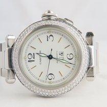 Cartier Pasha Big Date Steel 35mm, Aftermarket Diamond Setting