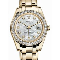 Rolex Pearlmaster 34 81298 White Mother of Pearl Diamond Bezel...