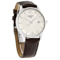 Tissot Mens Tradition White Dial Brown Leahter Strap Watch...