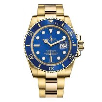 Rolex Submariner Mens 18k Yellow Gold Blue Dial Automatic Ref....