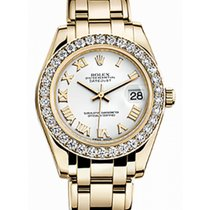 Rolex Pearlmaster 34 81298 White Roman Diamond Bezel Yellow Gold